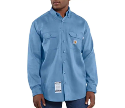 Men's Carhartt FR Light Weight Twill Work Shirt | Medium Blue