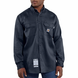 Men's Carhartt FR Light Weight Twill Work Shirt | Navy