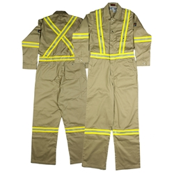 Rasco FR 7.5 Ounce Khaki Coverall With Hi-Vis Stripes