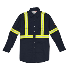 Rasco Flame Retardant Navy Work Shirt With Reflective Stripes