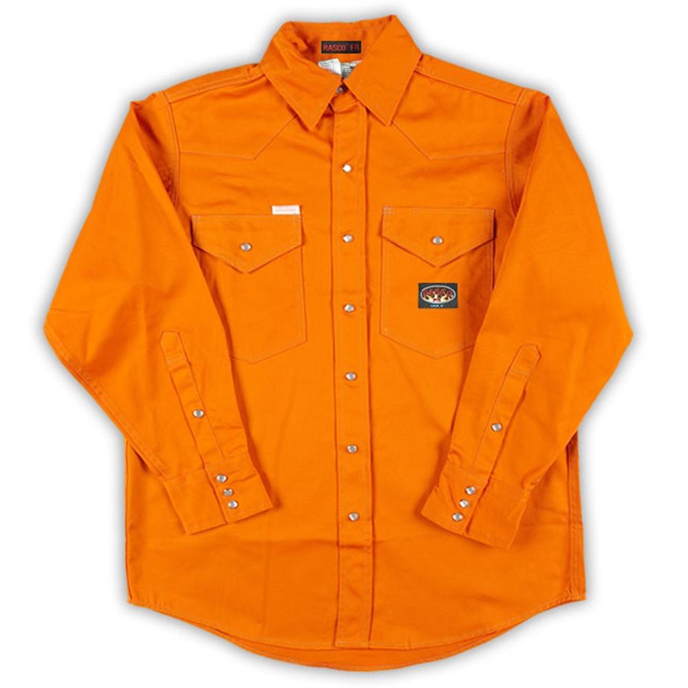 Orange lightweight rasco frc shirt ofr752 for Flame resistant work shirts
