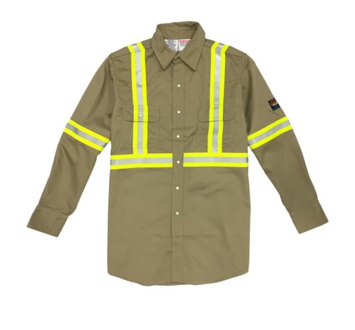 Rasco Flame Retardant Khaki Work Shirt With Reflective Stripes