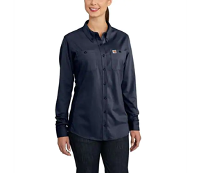 Womens Carhartt FR Force Cotton Hybrid Shirt | Dark Navy