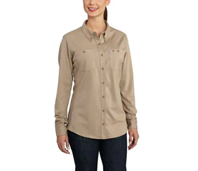 Womens Carhartt FR Force Cotton Hybrid Shirt | Khaki