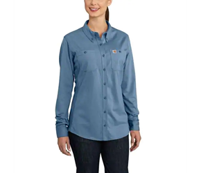 Womens Carhartt FR Force Cotton Hybrid Shirt | Medium Blue