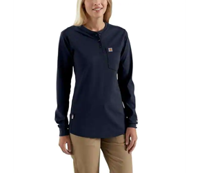 Womens Carhartt FR Force Cotton Long-Sleeve Henley  | Dark Navy