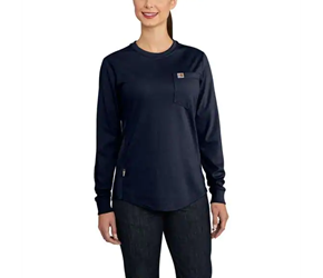 Womens Carhartt FR Force CottonLong-Sleeve Crewneck T-Shirt | Dark Navy