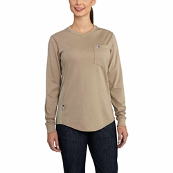 Womens Carhartt FR Force CottonLong-Sleeve Crewneck T-Shirt | Khaki