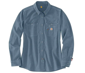 Womens Carhartt FR Force Relaxed-Fit Lightweight Long-Sleeve Button-Front Shirt | Steel Blue