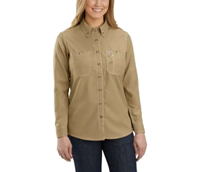 Womens Carhartt FR Force Relaxed-Fit Lightweight Long-Sleeve Button-Front Shirt | Dark Khaki