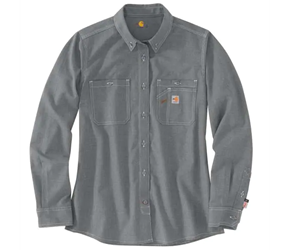 Womens Carhartt FR Force Relaxed-Fit Lightweight Long-Sleeve Button-Front Shirt | Gray