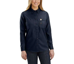 Womens Carhartt FR Force Relaxed-Fit Lightweight Long-Sleeve Button-Front Shirt | Navy