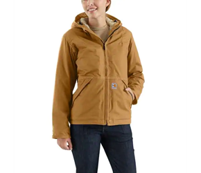 Womens Carhartt FR Full Swing Quick Duck Jacket - Sherpa Lined | Carhartt Brown