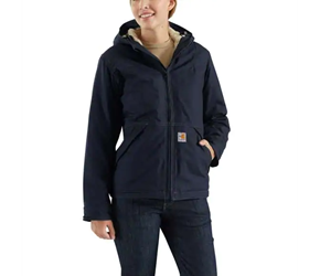 Womens Carhartt FR Full Swing Quick Duck Jacket - Sherpa Lined | Dark Navy