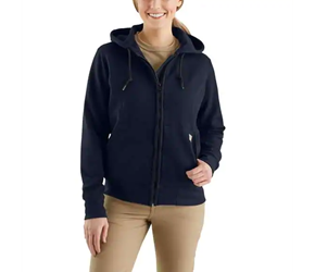 Womens Carhartt FR Heavyweight Zip Front Hooded Sweatshirt | Dark Navy