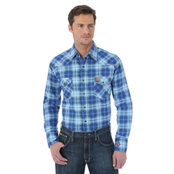 Wrangler FR Mens Light Weight Plaid Work Shirt