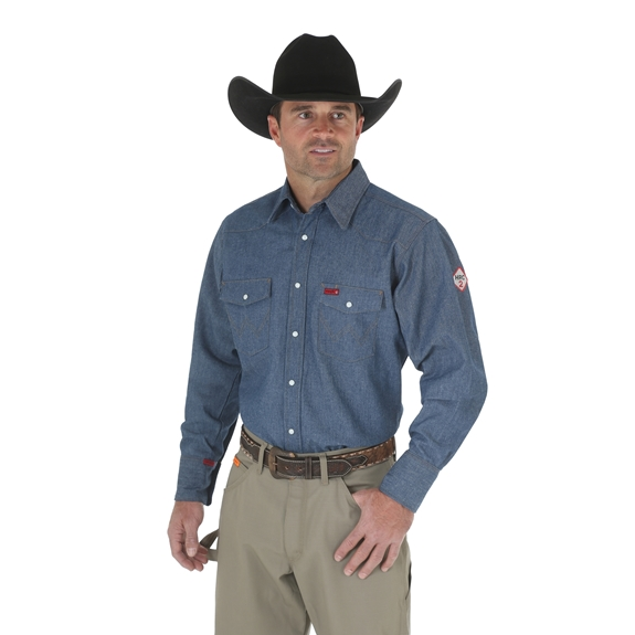 Wrangler Flame Resistant Long Sleeve Denim Work Shirt