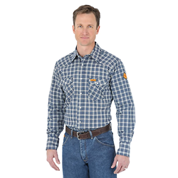 Wrangler Mens FR Blue and Black Western Work Shirt
