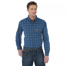 Wrangler Mens FR Royal Blue Western Work Shirt