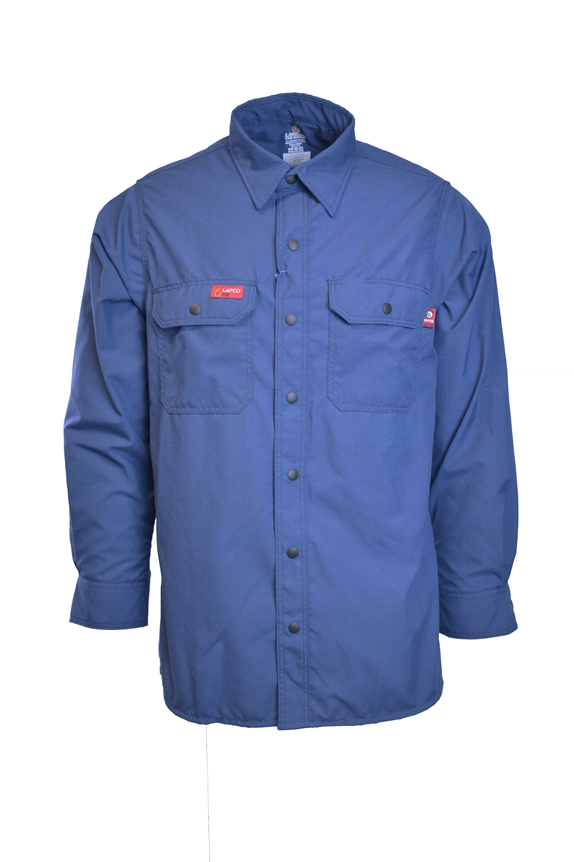 Lapco FR 4.5 oz GlenGuard Cool Blue Work Shirt With Snaps