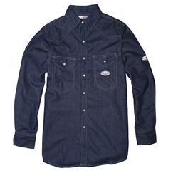 Rasco Mens Flame Resistant 10 oz. Heavyweight Denim Work Shirt