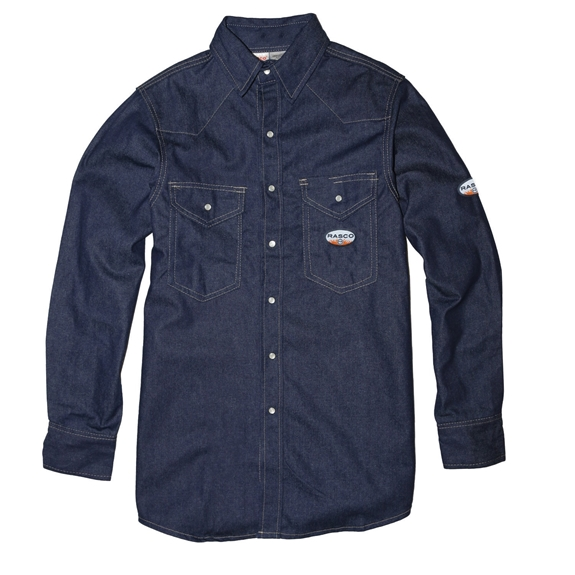 Rasco Men's Flame Resistant 10 oz. Heavyweight Denim Work Shirt