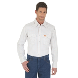 Wrangler FR Mens White Western Work Shirt