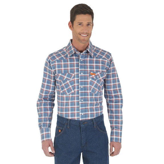 Wrangler Men's FR Blue/Red Western Work Shirt