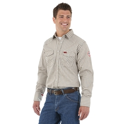 Wrangler FR Mens Long Sleeve Light Weight Plaid Workshirt