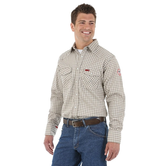 Wrangler FR Men's Long Sleeve Light Weight Plaid Workshirt