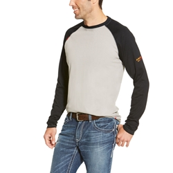 Ariat Flame Resistant Grey/Black Baseball T-Shirt