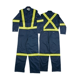 Rasco FR 7.5 Ounce Men's Navy Coverall With Hi-Vis Stripes